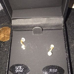 14k gold and two stone diamond earrings